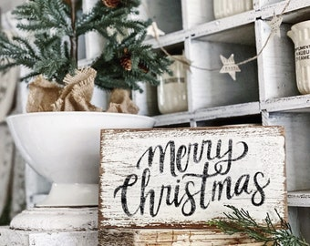MERRY CHRISTMAS Sign Chippy White FARMHOUSE Vintage Salvaged Barn Wood Reclaimed  Fixer Upper Decor Architectural Black Primitive Christmas