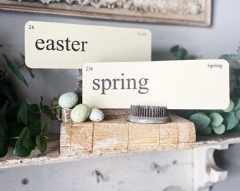 EASTER Flash Cards LARGE Vintage Inspired Flashcard SET Of 8 Farmhouse Decor Holiday