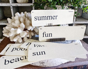 SUMMER Flash Cards LARGE Vintage Inspired Flashcard SET Of 8 Farmhouse Decor Vacation Play Beach Sun