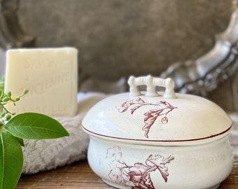 Antique White Ironstone Soap Dish Oval Brown Transferware Rectangle Farmhouse Decor England Mc N B Co Semi Granite