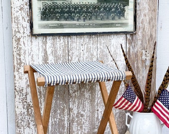 Antique Camp Seat Chair Blue White Ticking Canvas Fabric Farmhouse Primitive Vintage Decor Folding Bench