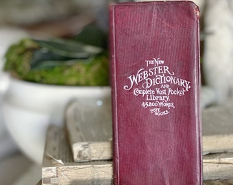 Antique WEBSTER DICTIONARY Book Best Pocket with Tabs Farmhouse Decor Book 1914