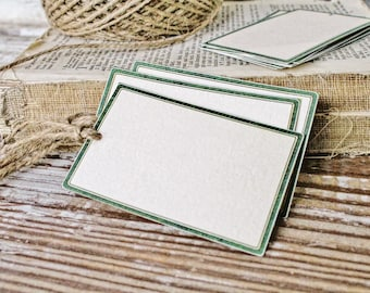Vintage GREEN Gift Tags Parcel Tag Farmhouse Christmas Decor Label Card French Tag  Fixer Upper Store Price Tags Primitive Christmas