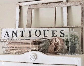 ANTIQUES Sign Farmhouse Wood Salvage Barn Wood Primitive Decor Architectural Reclaimed White Chippy Paint Wall Rustic Fixer Upper Decor
