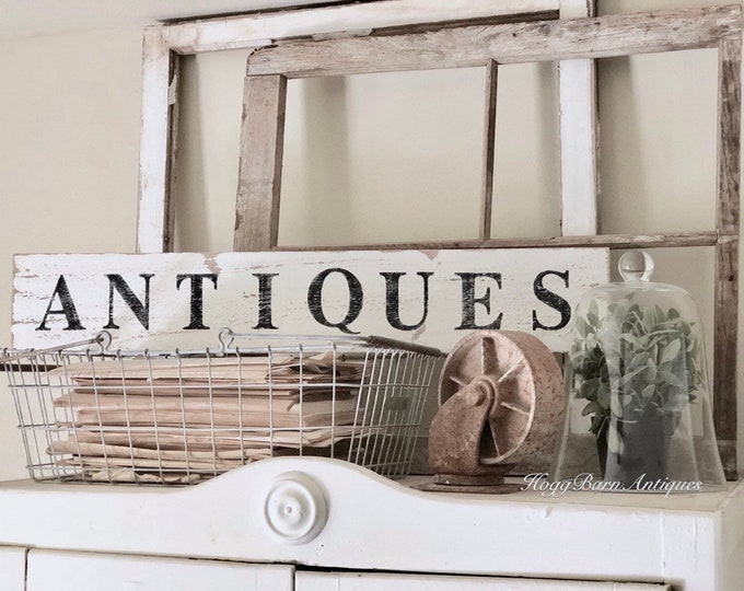 Featured listing image: ANTIQUES Sign Farmhouse Wood Salvage Barn Wood Primitive Decor Architectural Reclaimed White Chippy Paint Wall Rustic Fixer Upper Decor