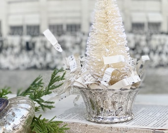Christmas Bottle Brush Tree LARGE With Mercury Glass Cup WHITE Flocked Tree Vintage  Farmhouse Sisal