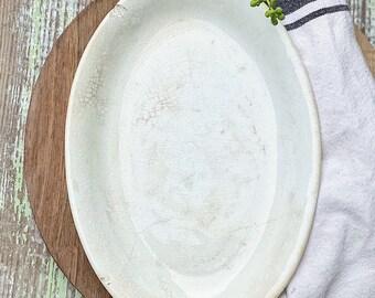 Antique White Ironstone Platter HOMER LAUGHLIN Farmhouse  Decor
