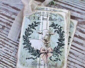 EASTER Vintage Gift Tags Lamb Grain Sack Laurel Wreath French Farmhouse Decor Card  Shabby