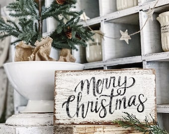 MERRY CHRISTMAS Sign Chippy White FARMHOUSE Vintage Salvaged Barn Wood Reclaimed Fixer Upper Architectural Black Paint Primitive Christmas