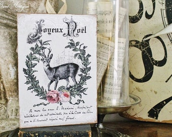 JOYEUX NOEL Deer Sign Vintage Christmas Decor  Laurel Wreath Roses Reindeer Wood Sign Farmhouse Christmas Decor Christmas Book Page Art