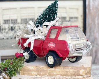 Vintage RED TONKA TRUCK With Flocked Green Bottle Brush Tree Chippy White Vintage Toy Farmhouse Christmas Vintage Sheet Music