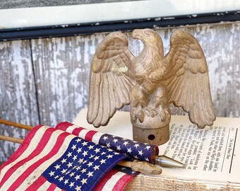Vintage Gold EAGLE Flag Pole Topper Cap Finial Farmhouse Decor Americana