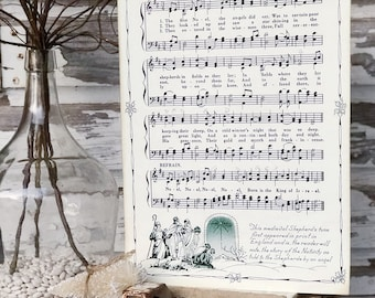 THE FIRST NOEL Sign Wood Vintage Sheet Music Carol Christmas Decor Poster Farmhouse Decor Book Page Wall Art