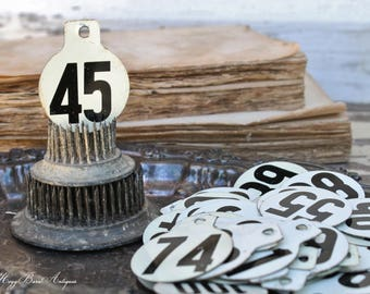 Vintage Metal Cow Tag Number WHITE  Black Industrial Ranch Farm Livestock Animal Farmhouse Decor Fixer Upper Decor 281-300