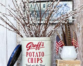 Antique GROFF'S POTATO CHIPS Red White Blue Tin Can Bucket Galvanized Farmhouse Decor Industrial Salvage Fresh off the Farm 2Lb Pennsylvania