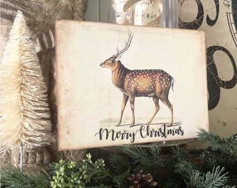 MERRY CHRISTMAS DEER Sign Vintage Christmas Decor Deer Fawn Stag Buck Reindeer Wood Sign Farmhouse Christmas Decor Book Page Art Primitive