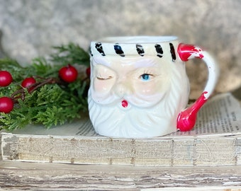 Vintage Ironstone DOUBLE-SIDED Santa Claus Cup Mug FULL Size Santa Hand Painted Farmhouse Christmas Decor Holtz Winking