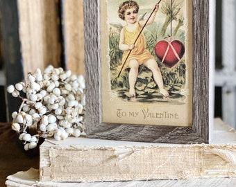 VALENTINE Cupid Fishing Framed Sign Farmhouse Decor Barn Wood Rustic