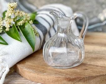 Vintage Glass Vinegar Oil Bottle French Country Farmhouse Decor Chic