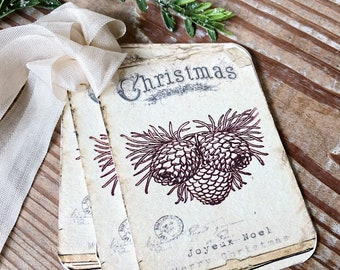 Christmas Vintage Gift Tags JOYEUX NOEL PINECONES Farmhouse Christmas Decor Card French Shabby Gift Wrap