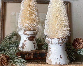 Christmas Bottle Brush Tree Salvaged Wood Base WHITE Flocked Tree Vintage Antique Architectural Chippy  Farmhouse Christmas Decor Primitive