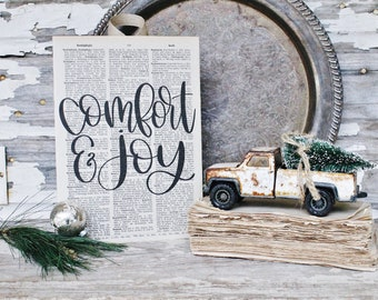 COMFORT And JOY Sign Vintage Dictionary Art Print Farmhouse Christmas Decor Sign Joy To The World Book Page