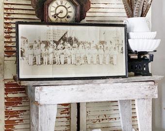 Antique Panoramic Framed AMERICAN LEGION BAND 1928 Texas Wall Art Print Farmhouse Decor Industrial Decor