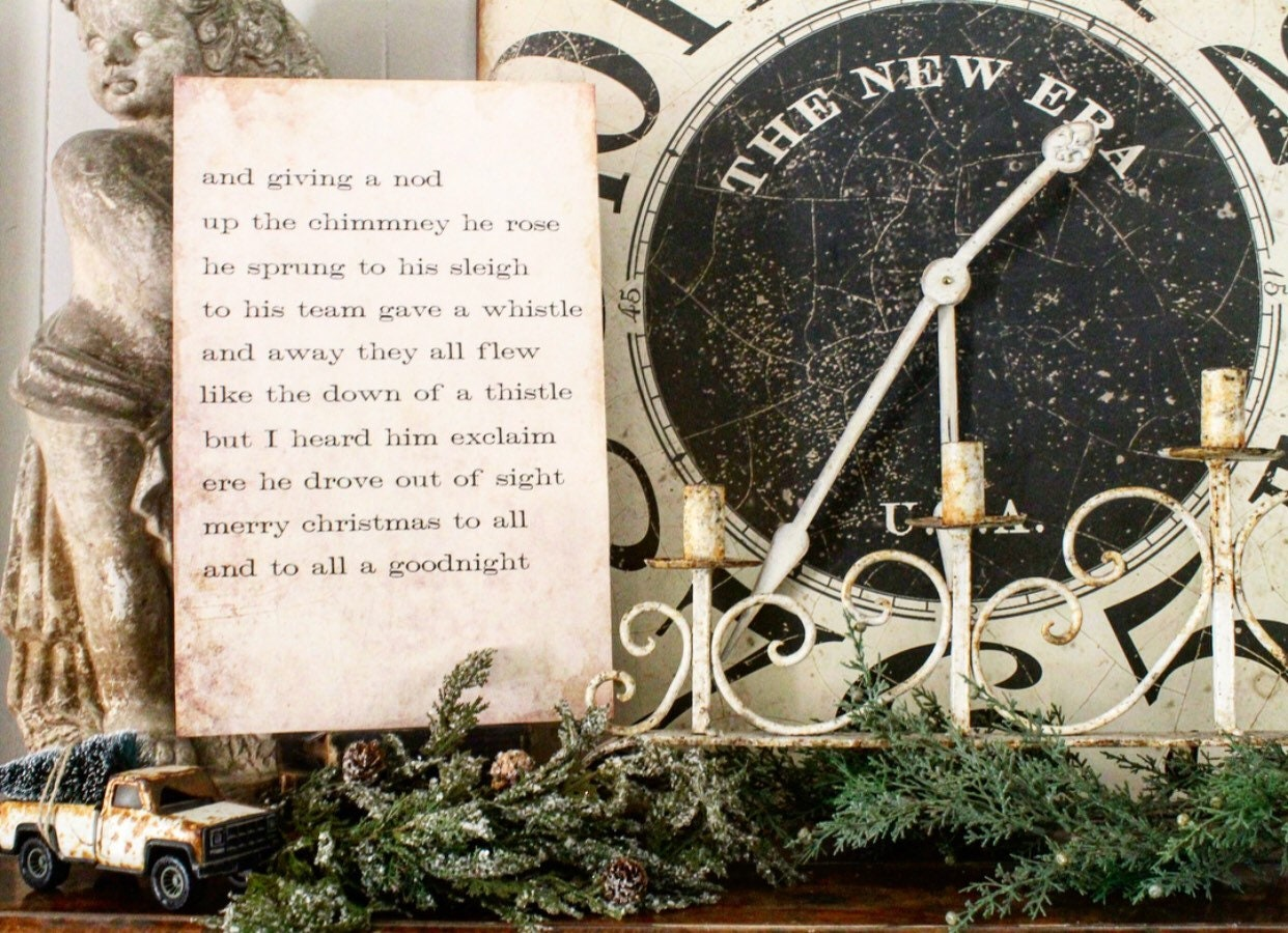 NIGHT BEFORE CHRISTMAS Sign Vintage Christmas Wood Sign Poster Mounted Farmhouse Christmas Decor Book Page Wall