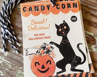 HALLOWEEN CANDY CORN Retro Gift Tags Vintage Orange Farmhouse Decor Grungy Party Favor Vintage Halloween Card