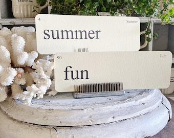 SUMMER Flash Cards LARGE Vintage Inspired Flashcard SET Of 8 Farmhouse Decor Vacation Play Beach Sun