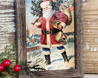 Vintage Christmas Santa MERRY CHRISTMAS Framed Sign Farmhouse Christmas Decor Barn Wood Rustic Primitive Christmas Sign