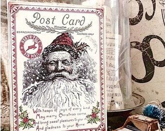 Vintage Santa Christmas Wood Sign Red Farmhouse Christmas Decor Vintage Advertising Post Card Sign Wall Art Print St Nick