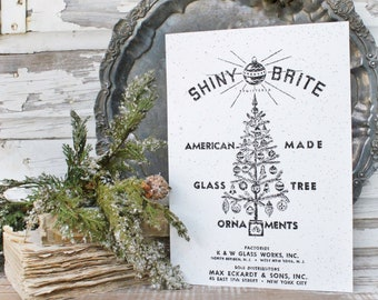 SHINY BRITE ORNAMENTS Wood Sign Farmhouse Christmas Decor Vintage Ornament Advertising Sign Wall Art Print Black and White Fixer Upper Decor
