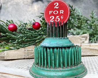 Antique Price Tag Number Sign RED CHRISTMAS 2 For 25 Cents Industrial General Grocery Store Mercantile Farmhouse Decor