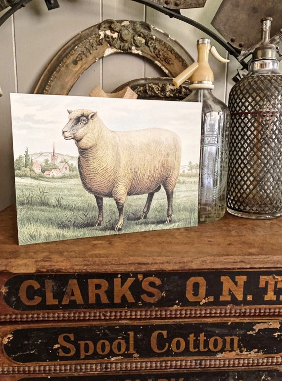 2 GRAZING SHEEP Lamb Country Vintage Style New Primitive Farmhouse SET