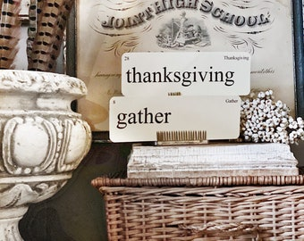 THANKSGIVING Flash Cards LARGE Vintage Inspired Flashcard SET Of 8 Farmhouse Decor Thankful Gather Harvest Fall Blessed