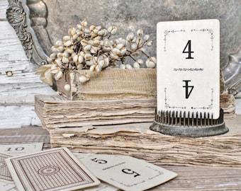 Antique Flinch Number Card Game Farmhouse Decor Fixer Upper Style Cardboard Black Number BROWN Back