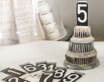 Vintage Metal Cash Register Flag Number Tag Black White Farmhouse Decor Antique Industrial Salvage Parts