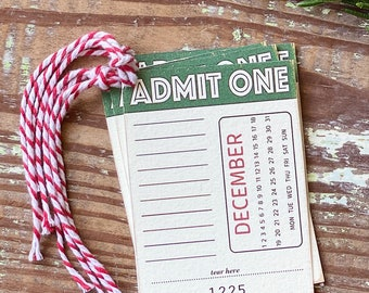 Christmas Gift Tags Vintage ADMIT ONE Red Green Farmhouse Decor Gift Wrap DECEMBER