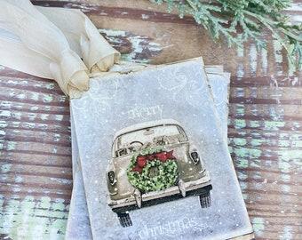 Christmas Vintage Gift Tags OLD CAR TRUCK Farmhouse Christmas Decor Card French Shabby Gift Wrap