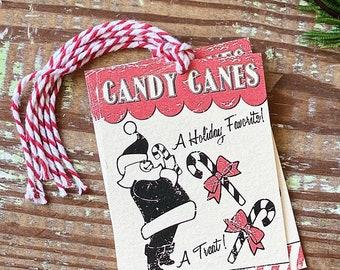 Christmas Gift Tags Vintage CANDY CANE Santa Red Farmhouse Decor Gift Wrap
