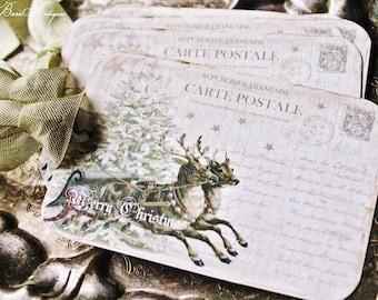 Christmas Vintage Gift Tags DEER POST CARD Farmhouse Decor Card French Shabby Reindeer Sled Gift Wrap