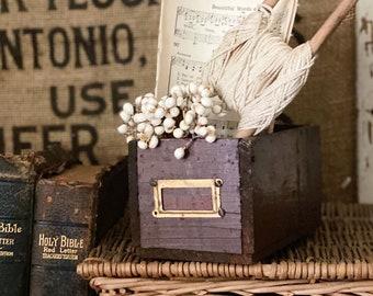 Antique Bin Pull Drawer Primitive Wooden Box Crate  Farmhouse Industrial Salvage Decor