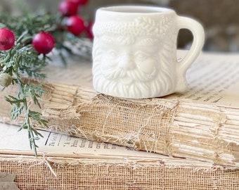 Vintage WHITE Ironstone Santa Claus Cup Mini Mug Santa Farmhouse Christmas Decor