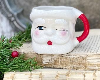 Vintage Ironstone Santa Claus Cup Mug FULL SIZE Santa Hand Painted Farmhouse Christmas Decor Japan WINKING