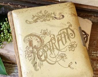 Antique PORTRAITS Album Cabinet Photo Book Celluloid Victorian Decor