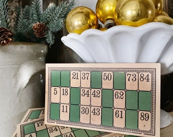 6 Antique LOTTO BINGO Game Card GREEN Farmhouse Christmas Decor Industrial  Sign Vintage Number Salvage Set of 6