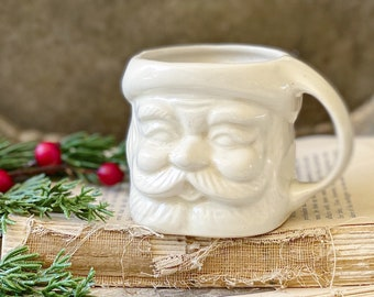 Vintage Ironstone Santa Claus Cup Mug FULL SIZE Creamy White Santa Hand Farmhouse Christmas Decor RARE Japan Crazing