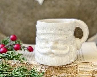 Vintage Ironstone Santa Claus Cup Mug FULL SIZE Creamy White Santa Hand Farmhouse Christmas Decor RARE Japan Crazing Grungy Heavily Crazed