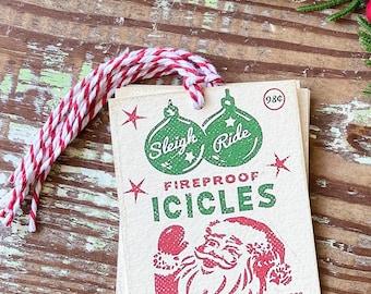 Christmas Gift Tags Vintage SANTA ICICLES Red Green Farmhouse Decor Gift Wrap